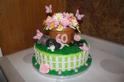 80th birthday cakes for men. Jenn's Fun Cakes: 60th birthday cake for a lady who loves her puppy and gardening