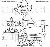 Sewing Woman Cartoon Seamstress Dress Clipart Happy Illustration Lineart Vector Djart Royalty Clip sketch template
