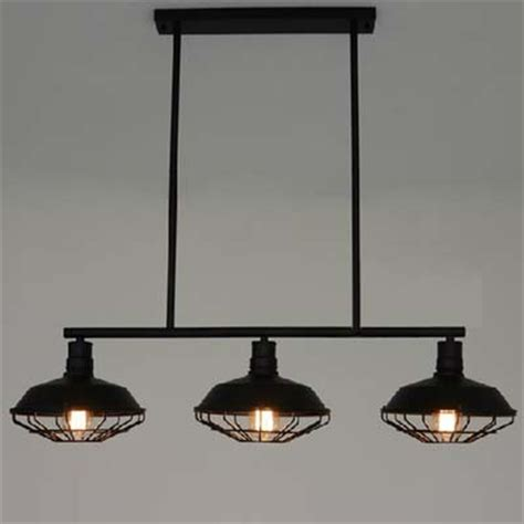 three light wrought iron black industrial linear island