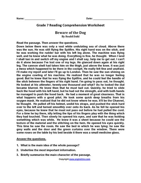 7th grade reading comprehension worksheets pdf the best