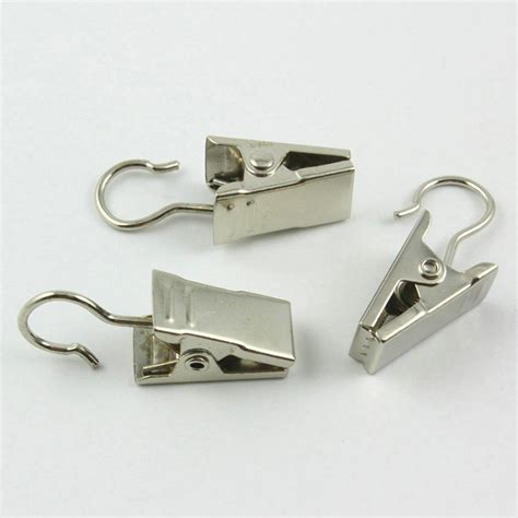 20pcs Stainless Steel Shower Window Curtain Rod Clips Hook