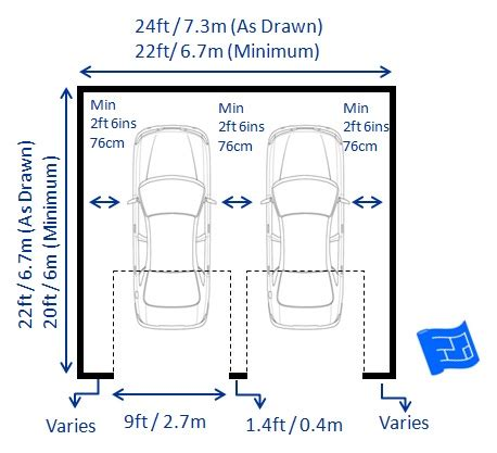driveway size for 2 cars garage dimensions