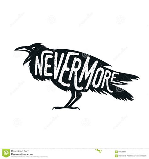 Raven Illustration With Word Nevermore Stock Vector  Image 59036691