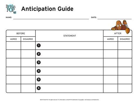 anticipation guide template anticipation guide graphic organizer brainpop educators