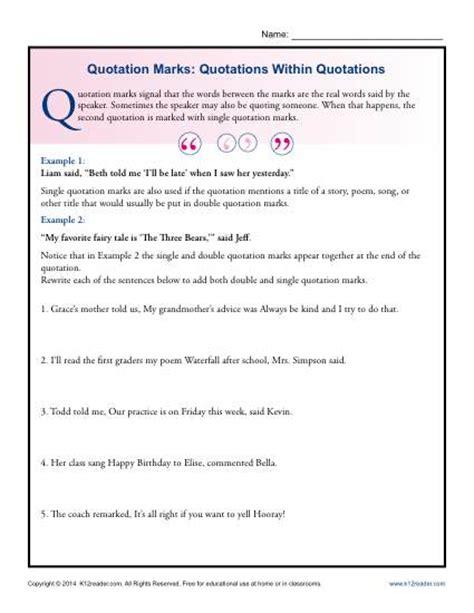quotation marks worksheet 2nd grade worksheets for all
