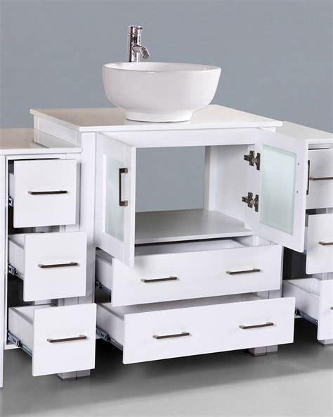 round vessel sink vanity white 54in round vessel sink single vanity by bosconi