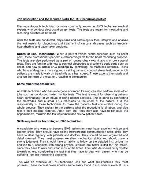 ekg technician resume cover letter description and the required skills for ekg technician profile