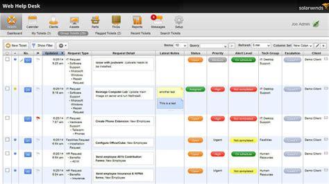 help desk call tracking software it help desk software service desk solarwinds