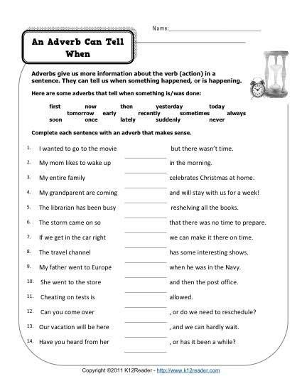 adverb of time worksheets grade 3 worksheets for all