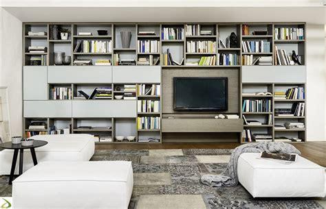 libreria parete libreria soggiorno moderna in legno setten arredo design