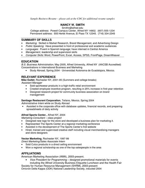 best photos of business administration resume sle