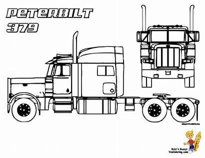 Coloring Peterbilt Trucks Truck Pages Semi 379