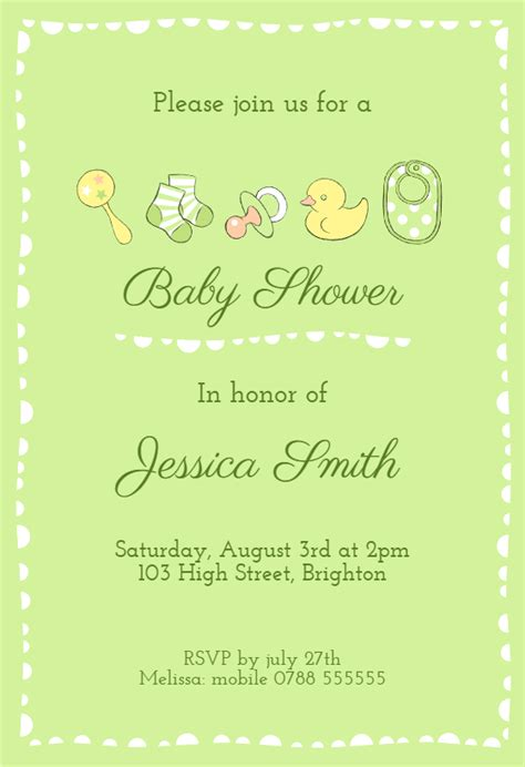 green baby items baby shower invitation template