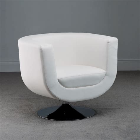 swivel white faux leather tub chair 18587 furniture