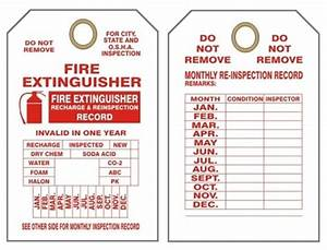 MONTHLY, FIRE EXTINGUISHER INSPECTION, Tags