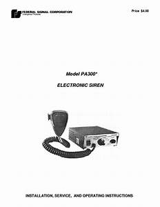 Federal Pa300 Siren Sm Service Manual Download  Schematics