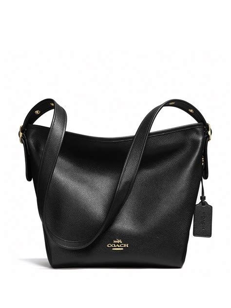 lyst coach dufflette leather shoulder bag  black