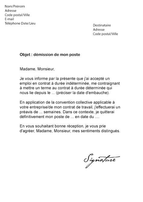 modele lettre demission suivi conjoint lettre de d 233 mission cdd vacataire mod 232 le de lettre