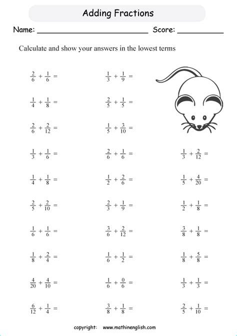 fractions worksheets  class  math worksheets