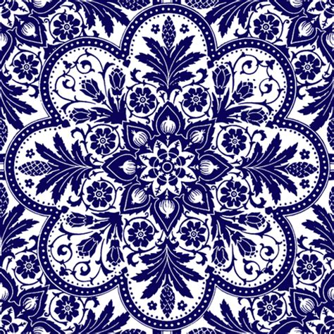 bourgogne tile admiral blue and white fabric
