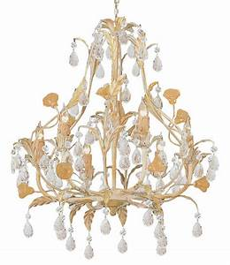 Champagne wrought iron chandelier with venetian crystals