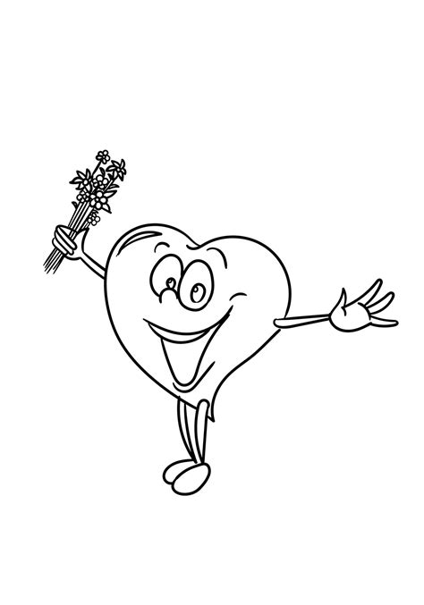 happy cartoon heart coloring page  printable coloring pages  kids