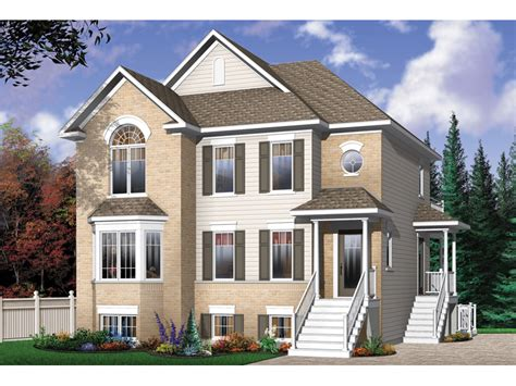 Multi Family House : Geary Place Triplex Townhouse Plan 032d-0383