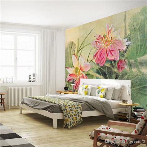 vintage lotus painting photo wallpaper  flower wall