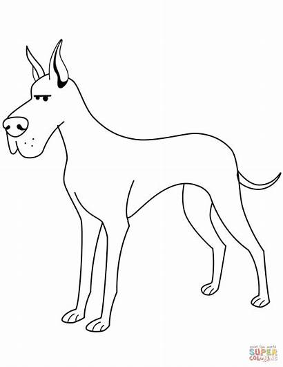 Coloring Dane Pages Funny Printable Drawing Dogs