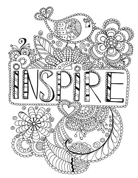 inspire words coloring page words coloring pages