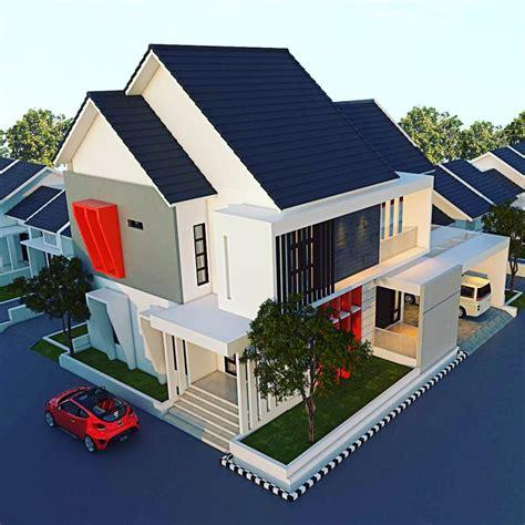 rumah minimalis atap miring  depan