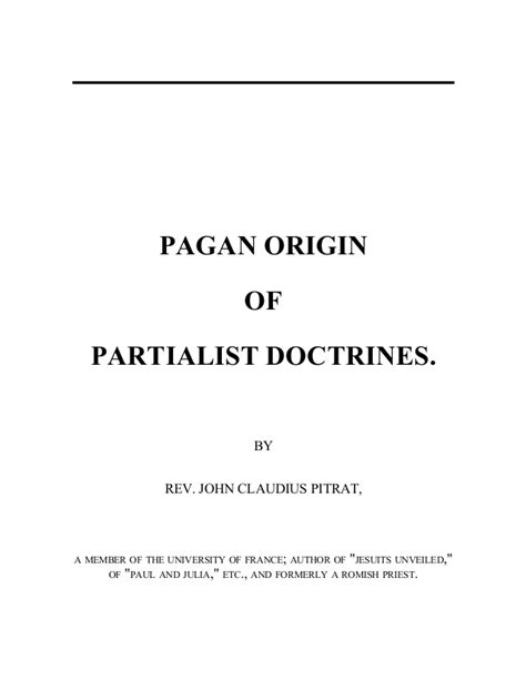 Pagan Origin of Partialist Doctrines, Free eBook