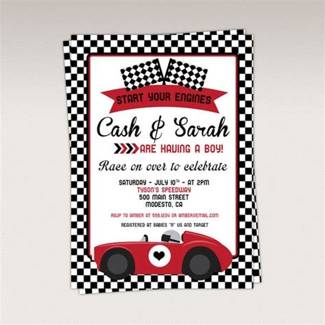 vintage red racing car baby shower party printable