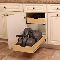 kitchen cabinet organizer Real Solutions for Real Life 7.5 in. x 15.3 in. x 12 in. Pot and Pan Cabinet Organizer-PNPKIT-R ...
