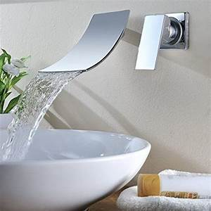 Unterputz Armatur Waschbecken : kinse wall mounted waterfall single lever chrome plated bathroom sink washroom basin mixer tap ~ Eleganceandgraceweddings.com Haus und Dekorationen