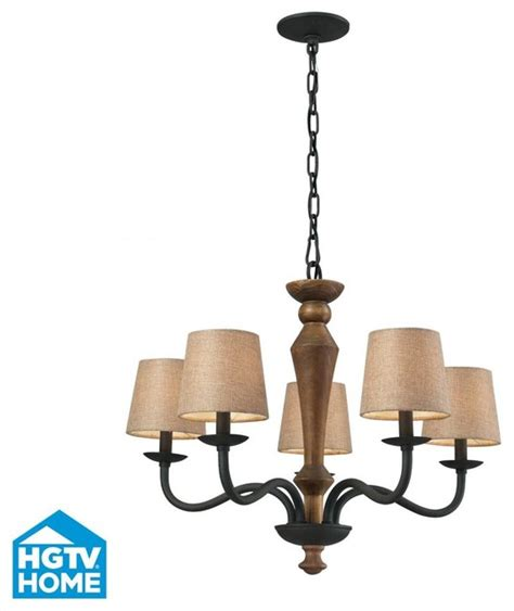 five light vintage rust drum shade chandelier rustic