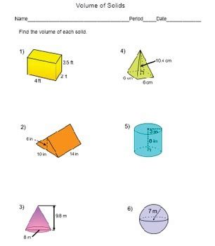 volume of solids worksheet prisms cylinders cones pyramids and spheres