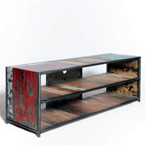 console bureau extensible meuble vintage industriel meuble tv loft en métal et bois