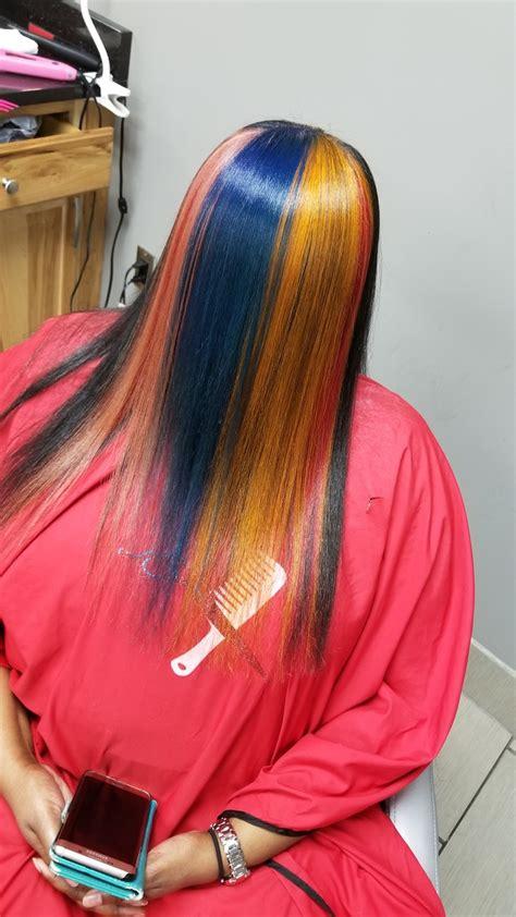 rainbow silk press transformation  natural hair