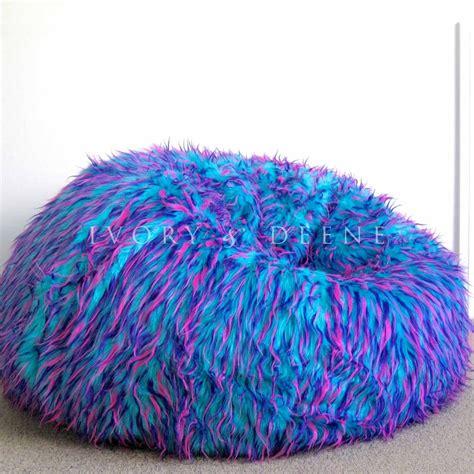 large shaggy fur beanbag cover blue pink cloud chair soft
