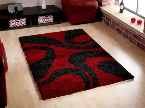 modern living room design with wool red black cheap area