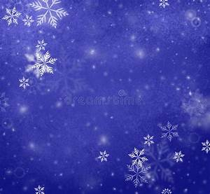 Snowflakes Falling On Blue Christmas Background, Winter ...