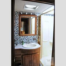 Rv Bathroom After  Tiled With Smart Tiles