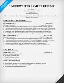 sle resume for insurance underwriter underwriter resume sle resume resume
