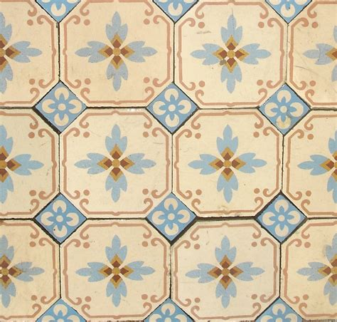 pretty octagonal antique tiles with floral inserts the