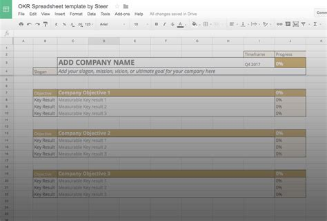okr template manage your goals with our free okr template inside steer