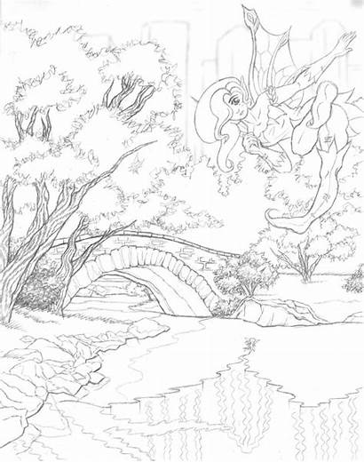 Scenery Coloring Pages Colouring Drawing Scenic Colour