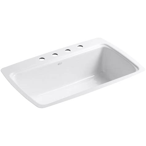 white single bowl kitchen sink kohler cape dory tile in cast iron 33 in 4 hole single