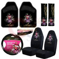 front seat cover 2 ed hardy floor mats approx 26 x 165