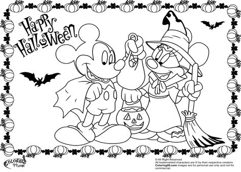 Cute Disney Halloween Coloring Pages